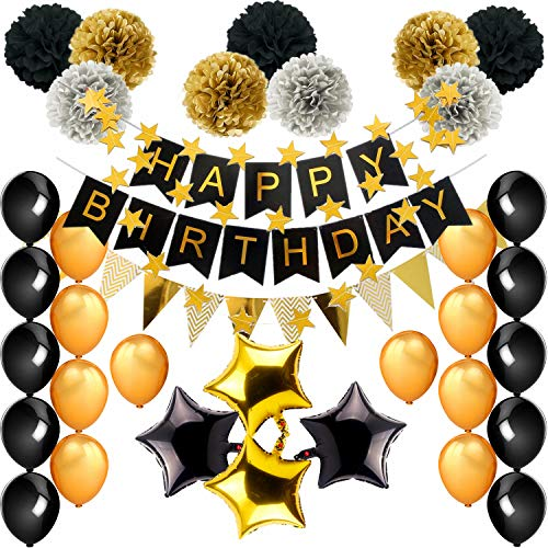 Birthday Decorations, Black and Gold Theme Birthday Party Supplies(99pcs) Happy Birthday Banner Balloons Tissue Paper Pom Poms18th 20th 30th 40th 50th 60th 70th Birthday Decorations -