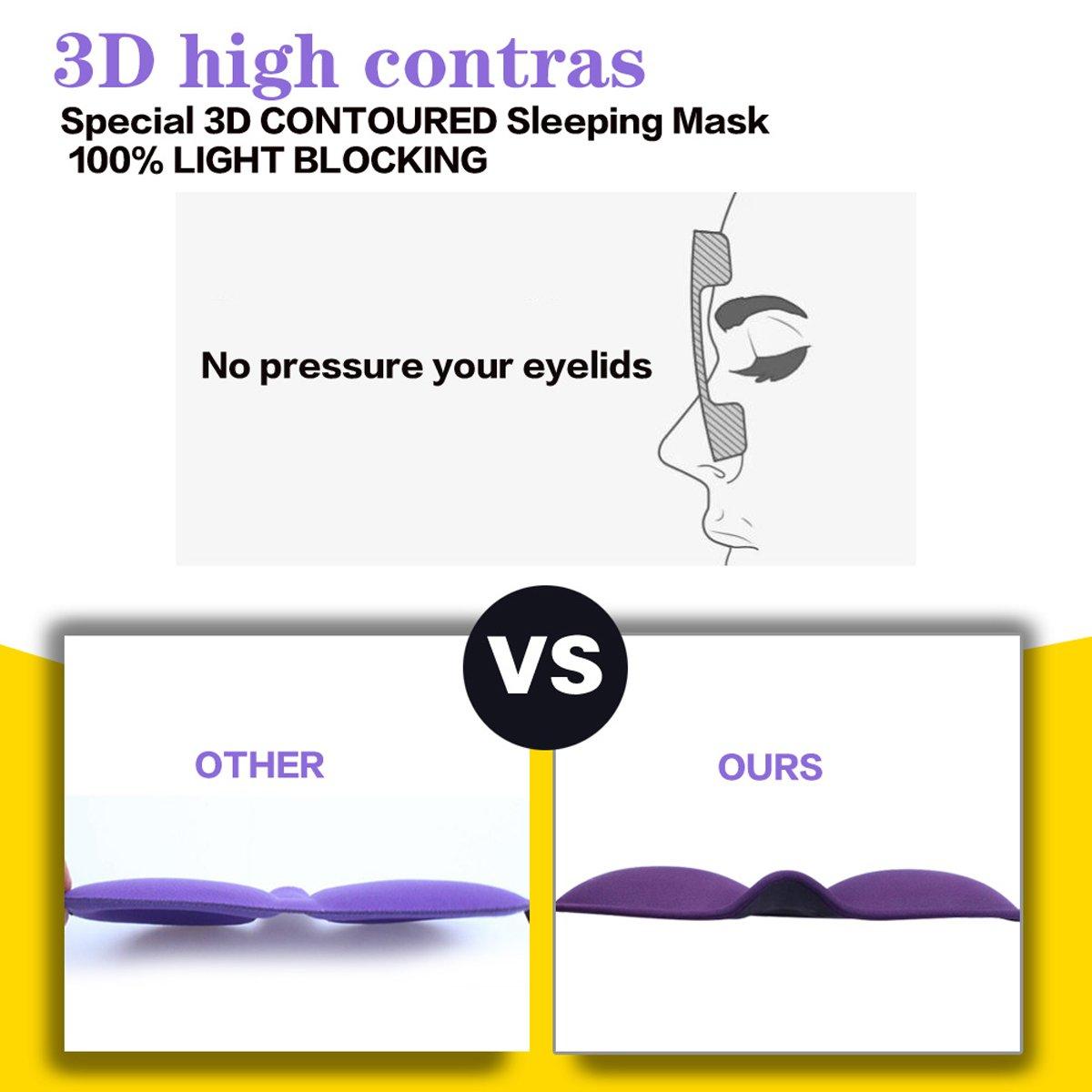 .3D Sleep Mask (Any machineable New Design 2 Pack) Eye Mask for Sleeping Locking Light 100%-Never Broken - Blindfold Airplane mask- Night Blinder Eyeshade for Men Women by leeken (Image #4)