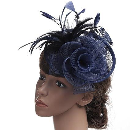FEI Sombreros Nupciales Plumas de Avestruz Sombreros de Fiesta de Tocado de Lino  Sombreros de fotografía 58902b805c1a