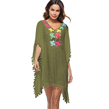 5318e6b0cfd0 Women Tassel Loose Plus Size Swimsuit Bikini Cover Up Tops Beach Dress for  Swimming Kaftans Blouses Long (Army Green