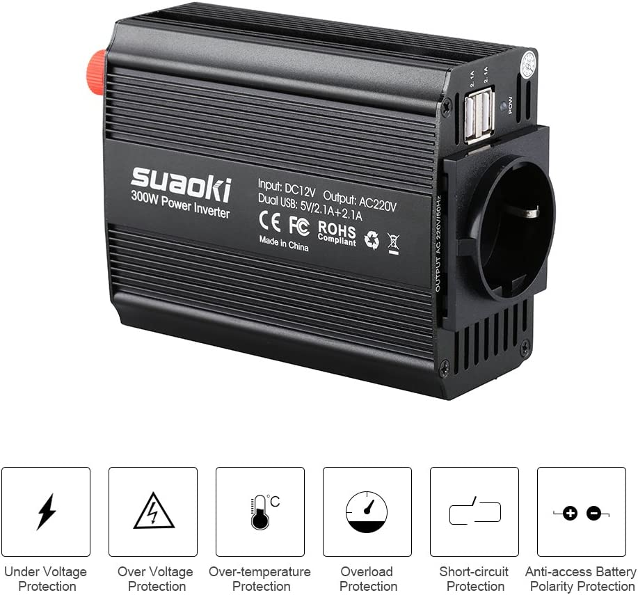 SUAOKI 300W Power Inverter DC 12V to 110V AC Car Converter with 4.2A Dual USB Car Adapter and 2 AC Outlets