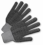 GRAY DOUBLE DOT STRING KNIT GLOVE 12 PAIR PER CASE