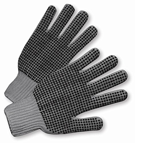 GRAY DOUBLE DOT STRING KNIT GLOVE 12 PAIR PER CASE by Clean Touch (Image #1)