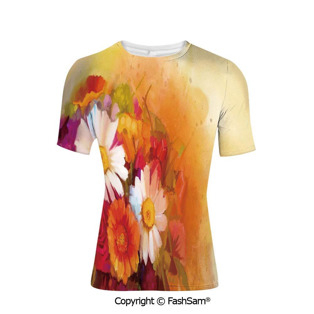 T Shirts Vivid Floral Swirls Symbol of Aura Energy Flow Harmony Health Doodle M
