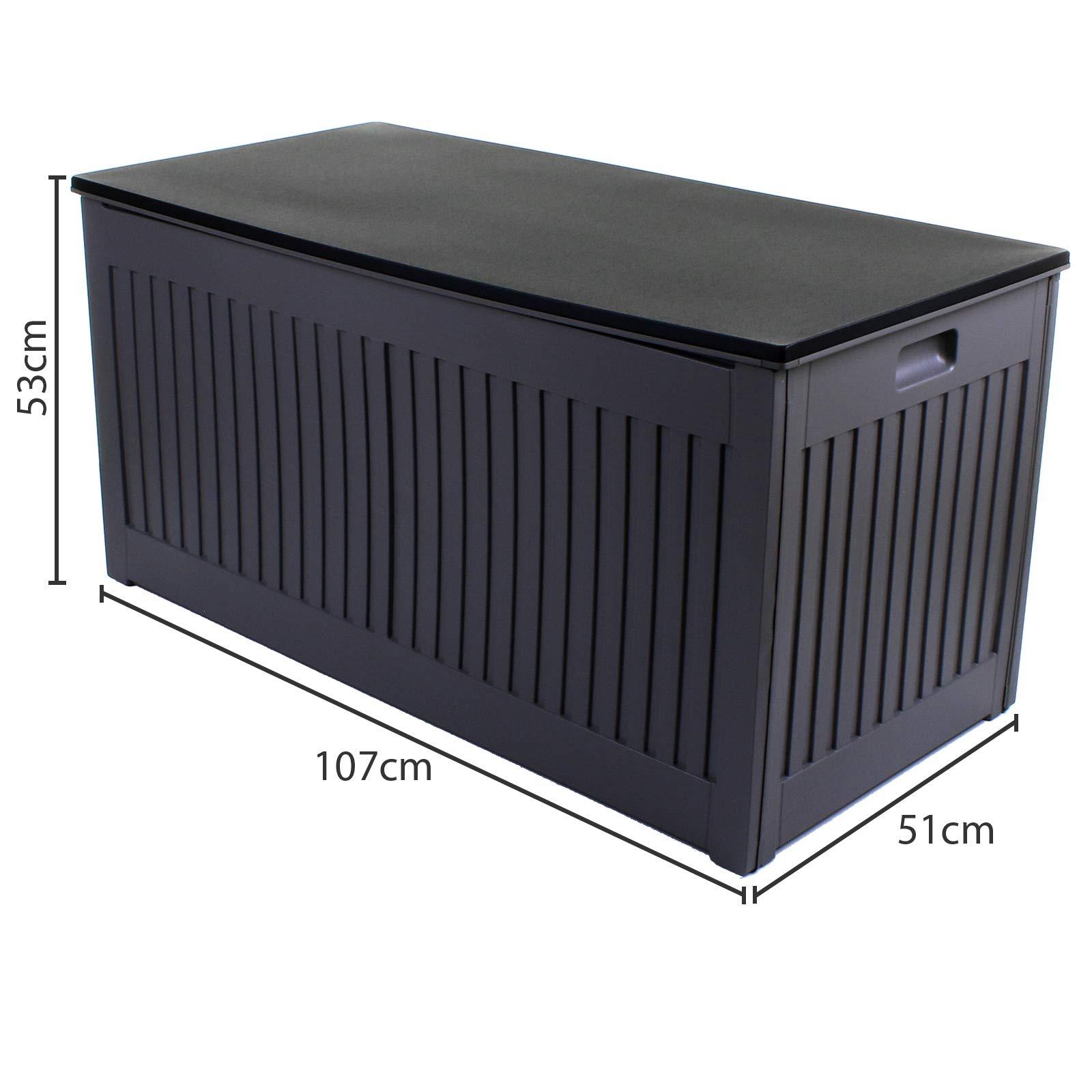 Deuba Garden Box 310L Storage Plastic Outdoor Patio Deck Chest Grey