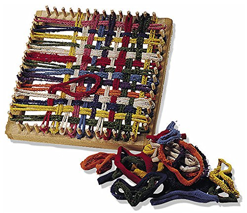 Folk Toys Classic Kid Wooden Weaving Weave Potholder Craft Wood Looper Loom (Wooden Loom)