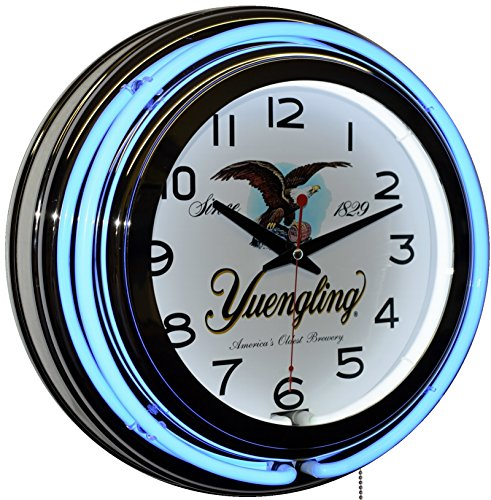 Yuengling America's Oldest Brewery Since 1829 Beer Logo Blue Double Neon Wall Clock (Brewery Yuengling)