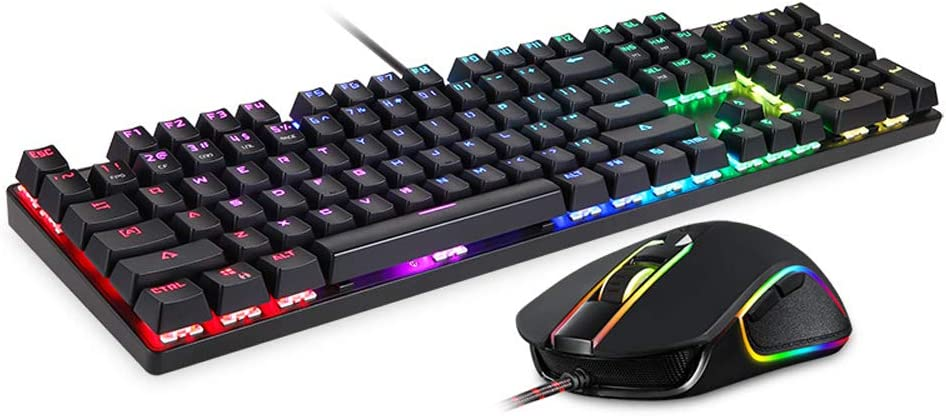 YYZLG Ck888 Mechanical Keyboard Game Mouse Set RGB Backlight Custom Green Axis 2400dpi104 Key