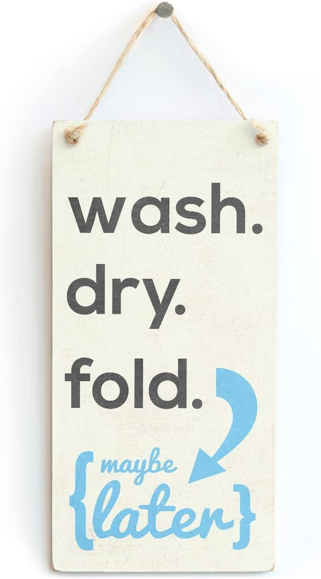 "Meijiafei Wash. Dry. Fold. - Vintage Retro Laundry Sign Kitchen Utility 10""x5"""