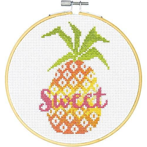 (Dimensions Learn-A-Craft Sweet Pineapple Counted Cross Stitch Kit for Beginners, 6'' )