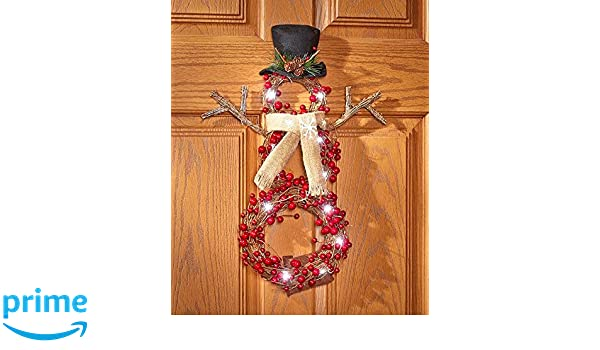4Rissa Lighted Country Berries Snowman Wreath Christmas Holiday Home Party Decor