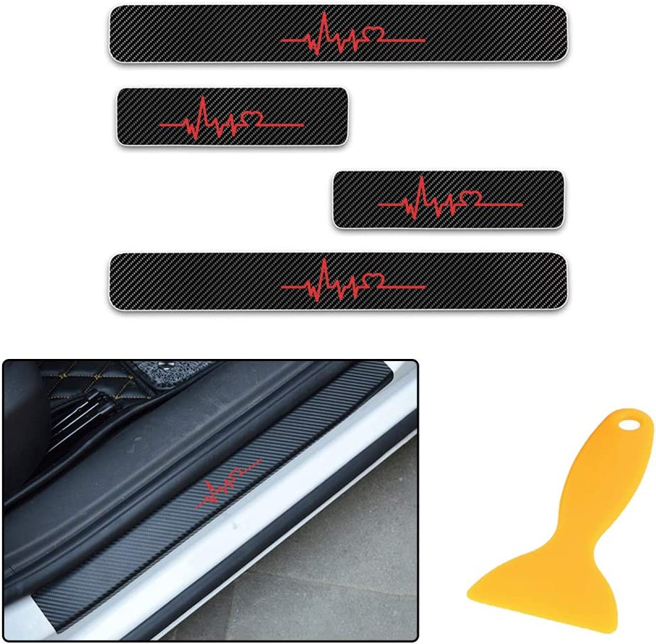 for Ford Escape Edge Flex Explorer Expedition KA Mondeo 4D Carbon Fiber Door Sill Guard Protector Kick Plate Trim Covers Stickers with Electrocardiogram Pattern Red 4Pcs