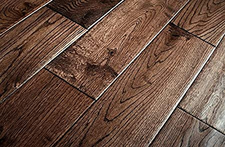 Wood Flooring Dark Solid Oak Hand Scraped Lacquered 15m Pack