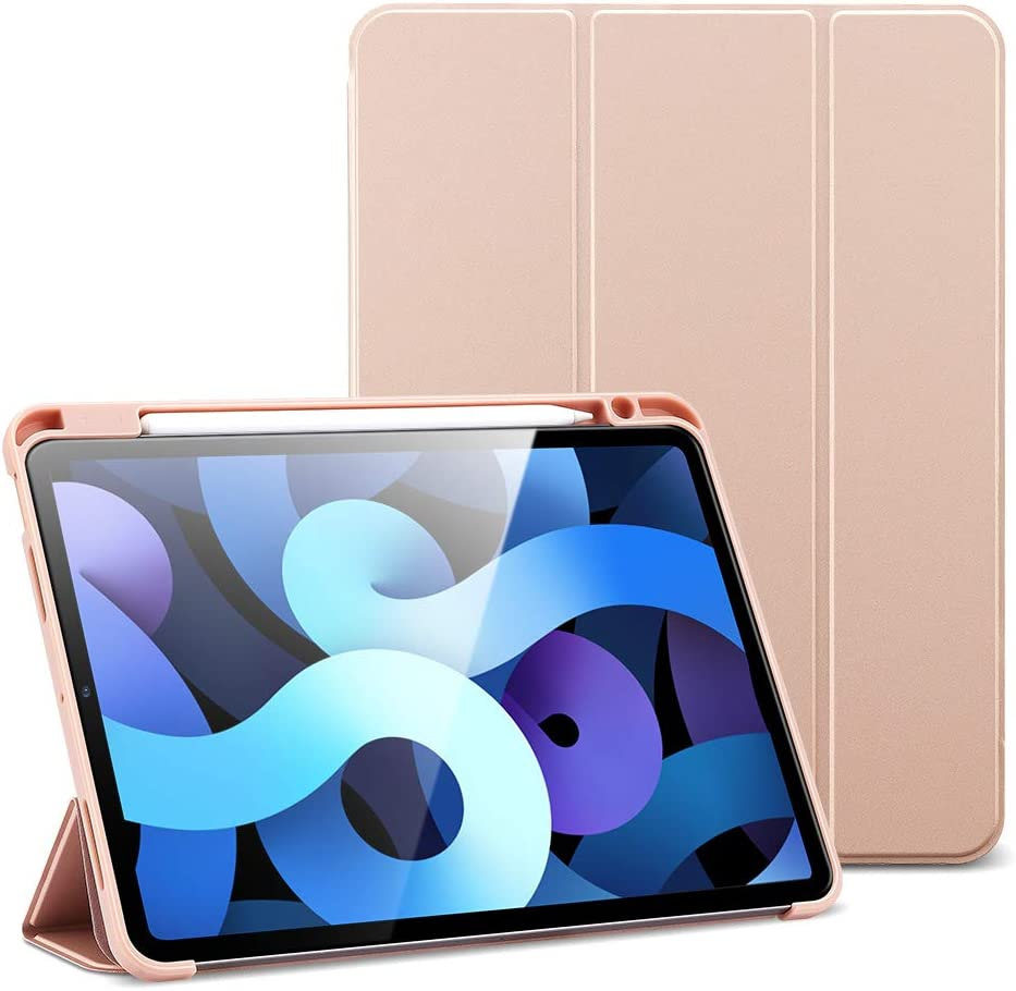 ESR Rebound Pencil Case for iPad Air 4 2020 10.9 Inch [Auto Sleep/Wake Cover] [Pencil Holder] [Soft Flexible Case] Rebound Series - Rose Gold
