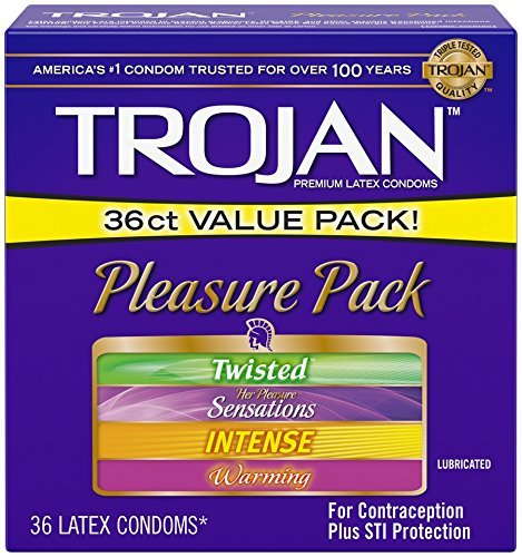 Trojan Condom Pleasure Pack Lubricated, 36 Count (Trojan Twisted Pleasure Condoms)