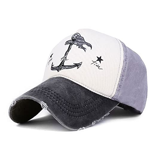 0a34c96ae Peak Mall Pirate Ship Anchor Printing Vintage Baseball Cap Adjustable  Distressed Trucker Hat For Men and Women