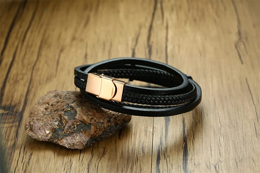 VNOX Custom Handmade Braided Leather Multi-Layer with Rose Gold Plated Stainlee Steel ID Cuff Bracelet
