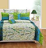 Swayam Signature Printed Polycotton Double Bedsheet with 2 Pillow Covers - Multicolor