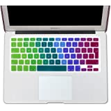 """EU/UK Macbook keyboard covers-- English Letter Silicone Colorful Keyboard Cover Skin for MacBook Pro 13"""" 15"""" 17"""" (with or without Retina Display) and MacBook Air 13"""" European/ISO Keyboard Layout (13"""" 15"""" Keyboard Cover, Rainbow)"""