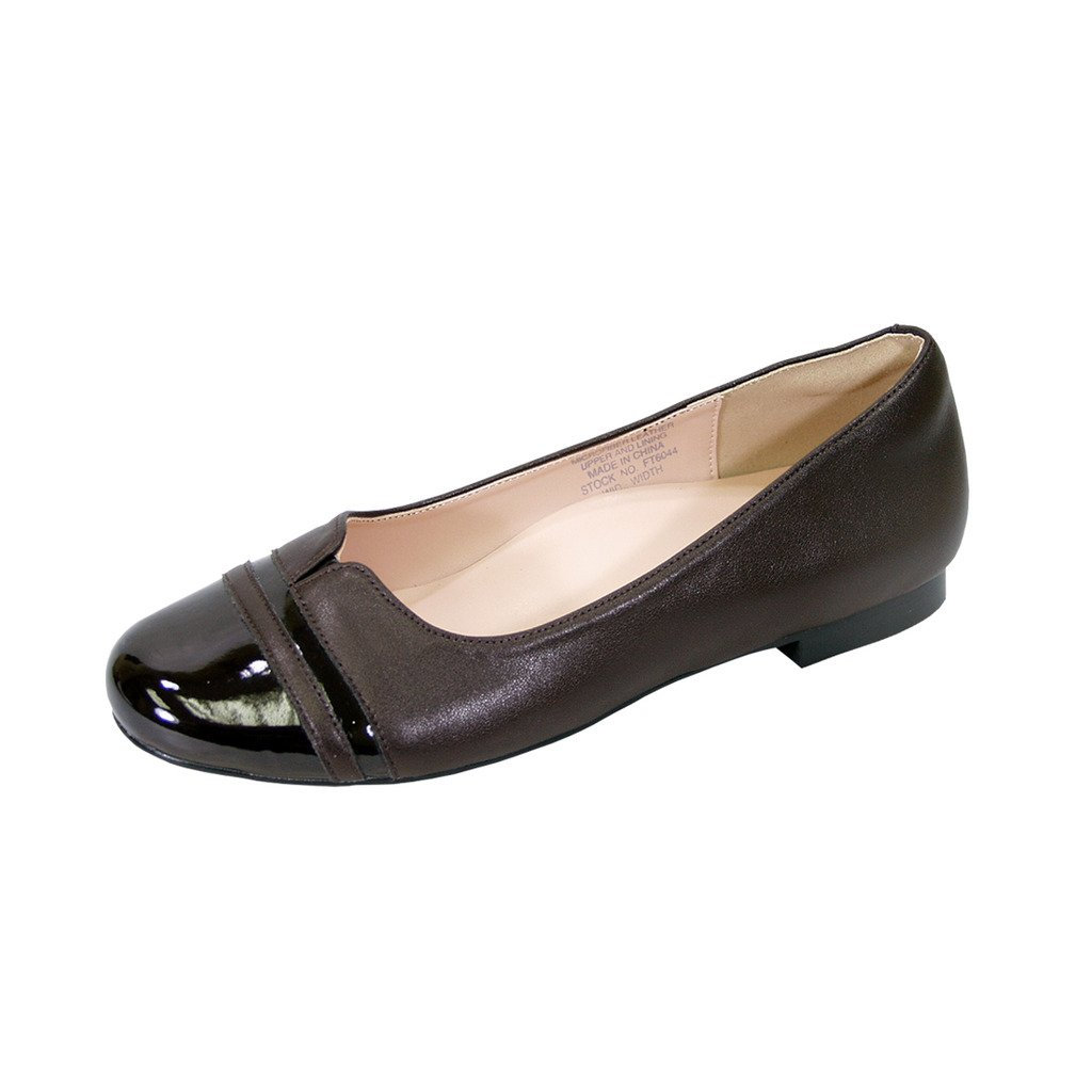 Peerage Marina Women Wide Width Round Toe Casual Dress Skimmer Flats (Size & Measurement Chart Available) B07BK77WXR 6 E|Brown