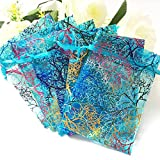 100pcs Blue 4x6'' inches Coralline Organza Wedding Party Favor Candy Gift Bags Jewelry Pouch ~ Cafolo