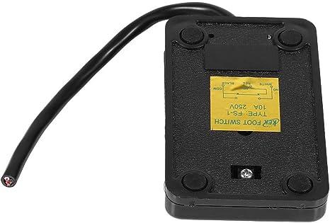 Industrial Interruptor de Pedal,Interruptor de Pedal Pl/ástico con Cable de Alimentaci/ón de 10cm//3.9inch,Interruptor de Pie Universal de 220V y 380V 10A