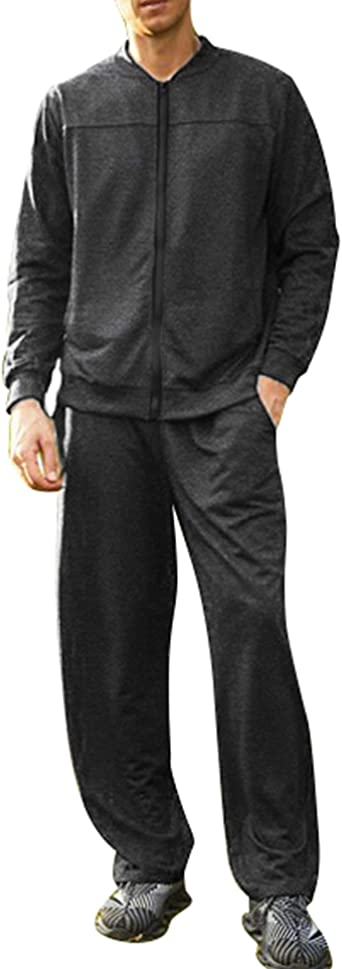 COOFANDY Mens Casual Athletic Tracksuit Full Zip Sweat Suits Jogging 2-Piece Set