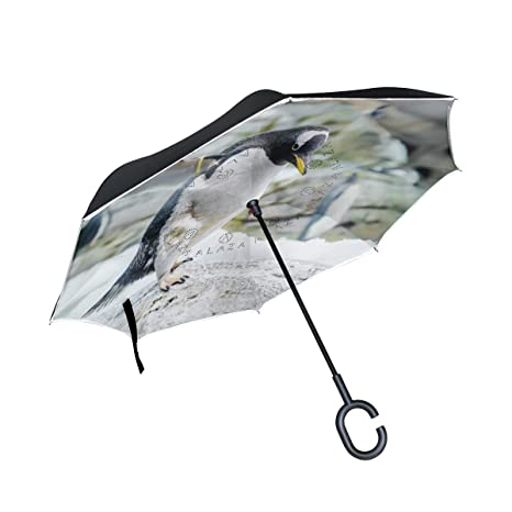 COOSUN Pingüinos de la capa doble del paraguas invertido inversa para el coche y el uso