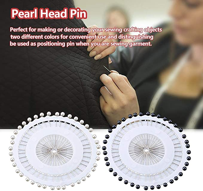 5 Sets White and Black Manmade Pearl Head Straight Pins Fixation Tool for Hand Crafts Sewing Projects Decoration Pearl Head Pin