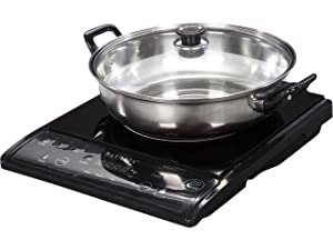 Tayama TIH-1500X Induction Cooker with Cooking Pot, Portable, Black