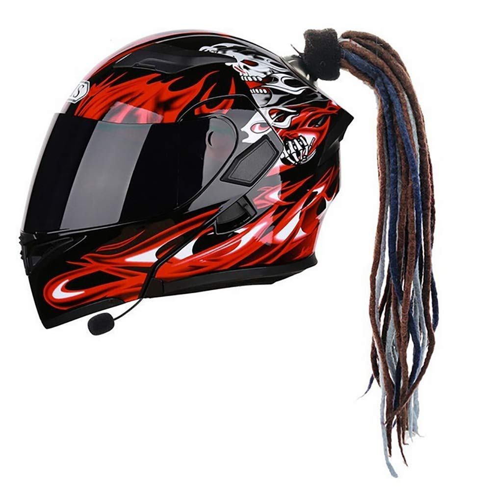 D/&F Motorrad Helm Pferdeschwanz Ritter Pers/önlichkeit Fahrrad Helm Z/öpfe Abnehmbar Saugnapf Bowknot Per/ücken Dekoration 1Pcs 24 Zoll