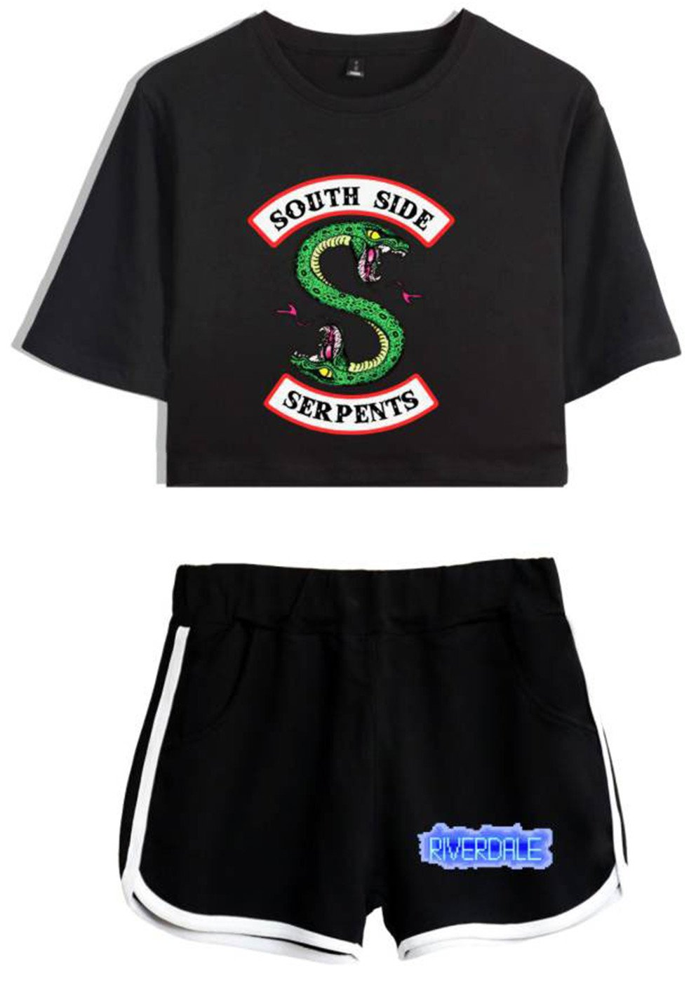 SERAPHY Riverdale Clothing Crop Top T-Shirt and Shorts Suit for Girls/Wowen 5760 Black-blackz XL