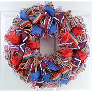 Fourth of July Independence Day Mesh Door Wreath; red white blue jute burlap 101