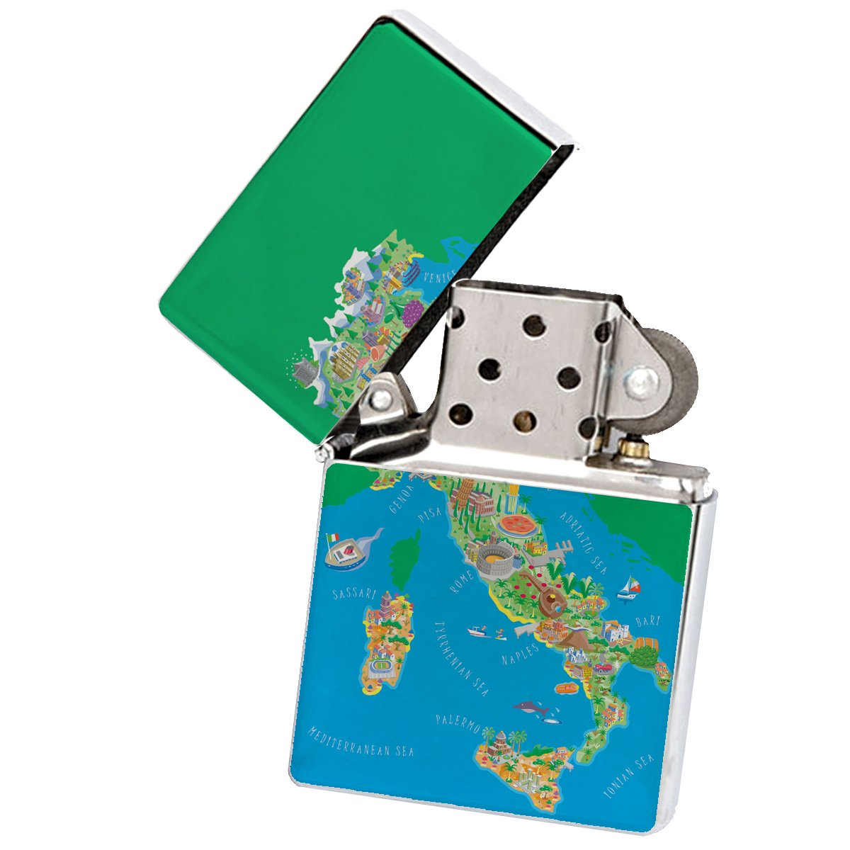 Italy Silver Flip Top Cigarette Lighter