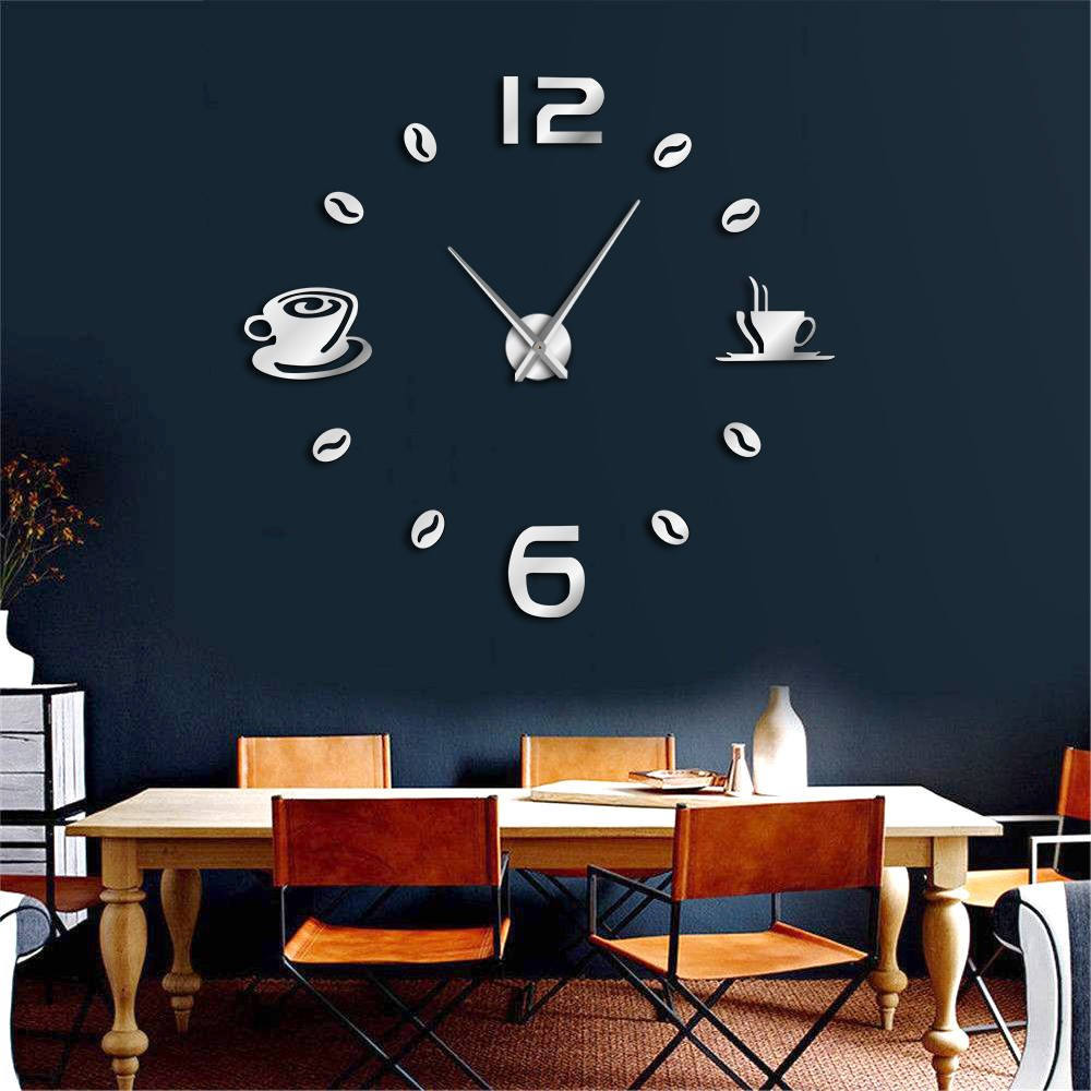 Amazon.com: The Geeky Days Cafe DIY Large Wall Clock Frameless Giant Wall Clock Modern Design Cafe Coffee Mug Coffee Bean Wall Decor Kitchen Wall Watch ...