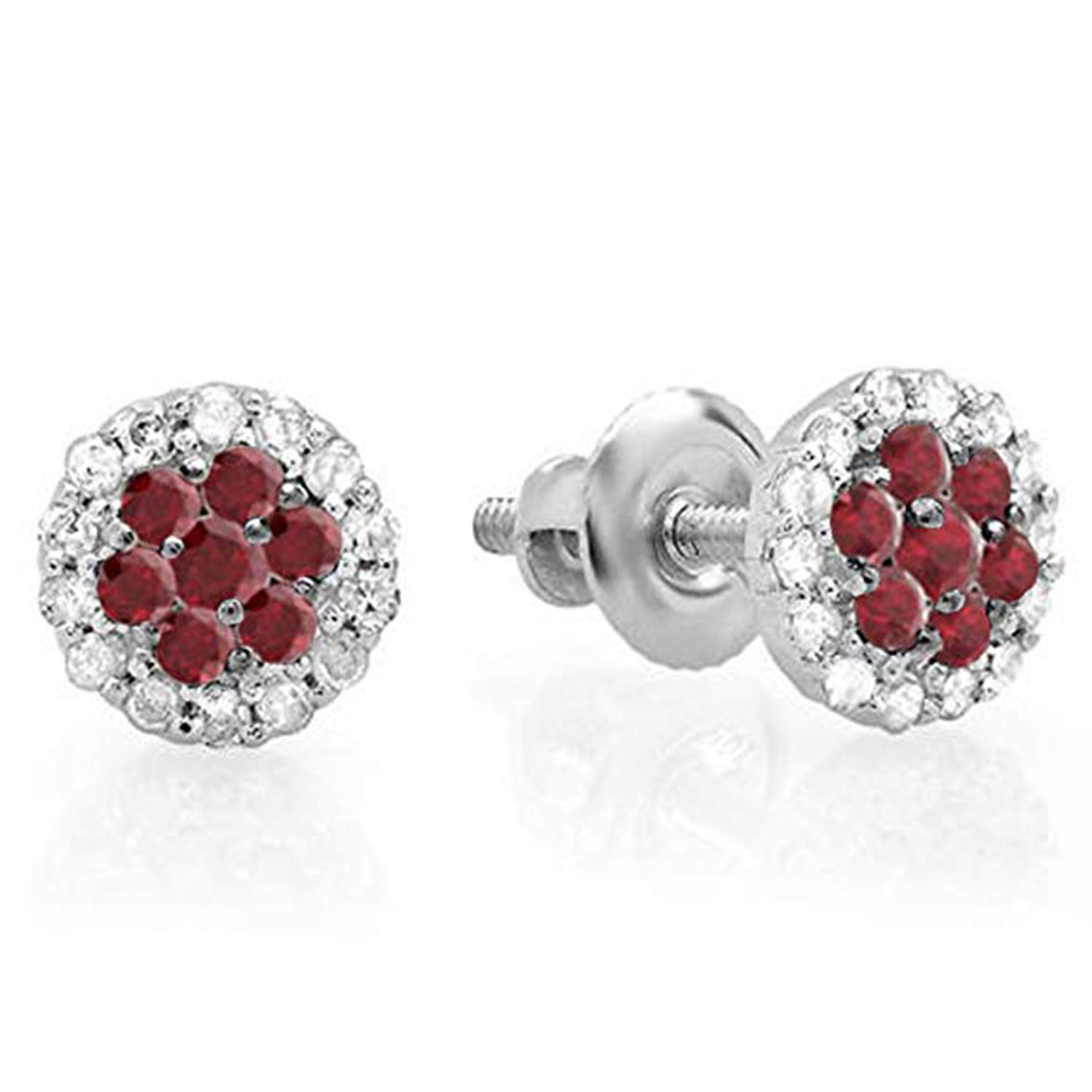 Girls Jewellery 14K White Gold Plated Simulated Diamond Stud Screwback Earrings For Womens