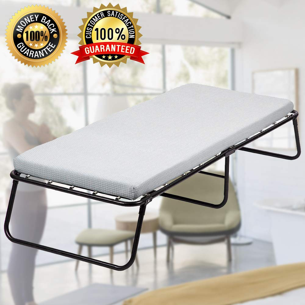 Guest Bed Folding Bed Frame with Comfort Foam Mattress 300Lbs Capacity Twin Rollaway Bed Protable Camping Cot Size Bed for Adults, Kids (Without Casters) by Dkeli
