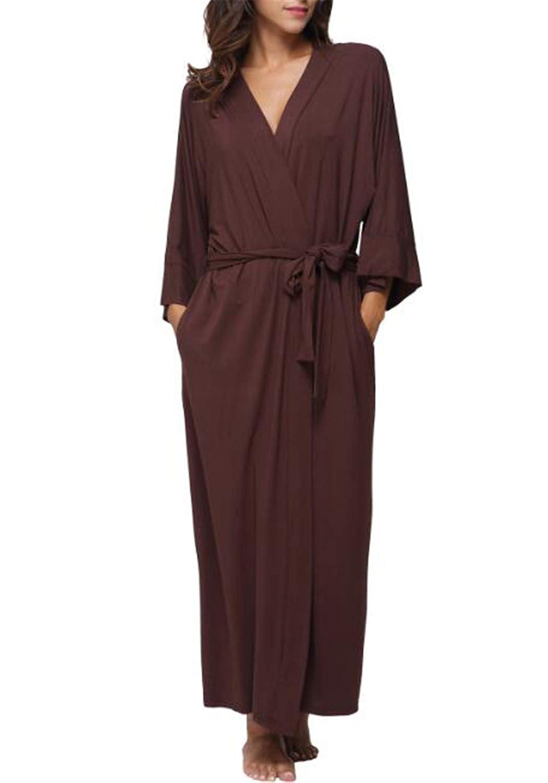1 Ronald Turner Women's Cotton Long Kimono Robe Sexy Party Wedding Bride Bridesmaids Robes Ladies Modal Black Loungewear Nightgown Bathrobe 9 XL