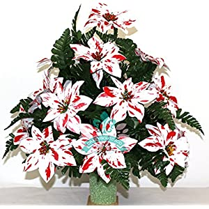 Christmas XL Artificial Peppermint Poinsettia Cemetery Flower Headstone Standard 3 -Inch Vase Grave Decoration 62