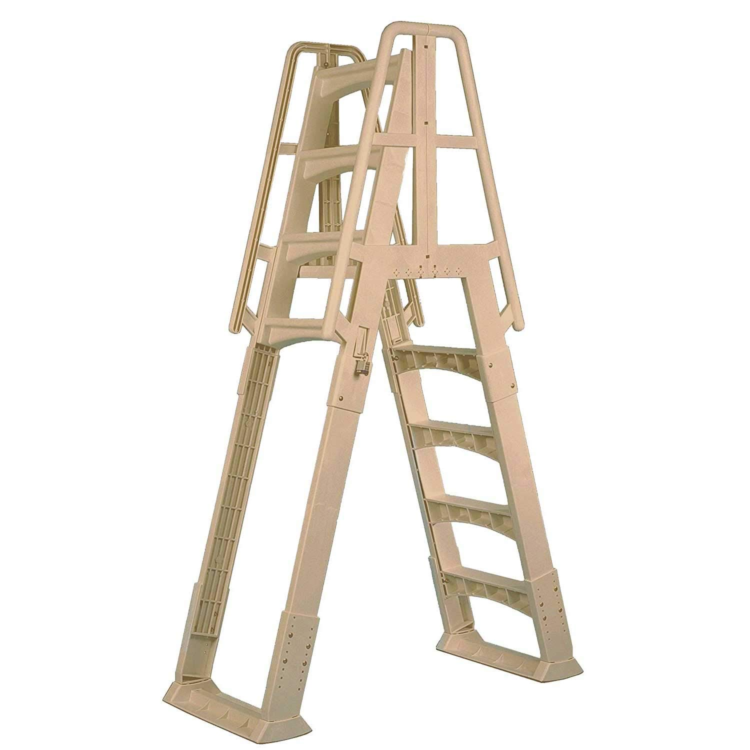 Above Ground Pool Ladders-Vinyl works A-Frame Ladder with Barrier for Swimming pools