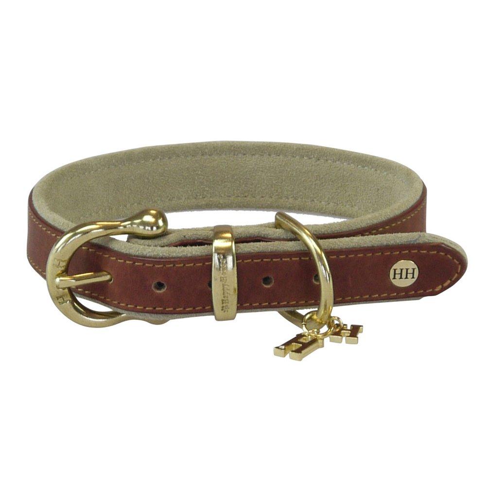 happy-house Basic Sattel Leder Halsband, 2x große, Haselnuss