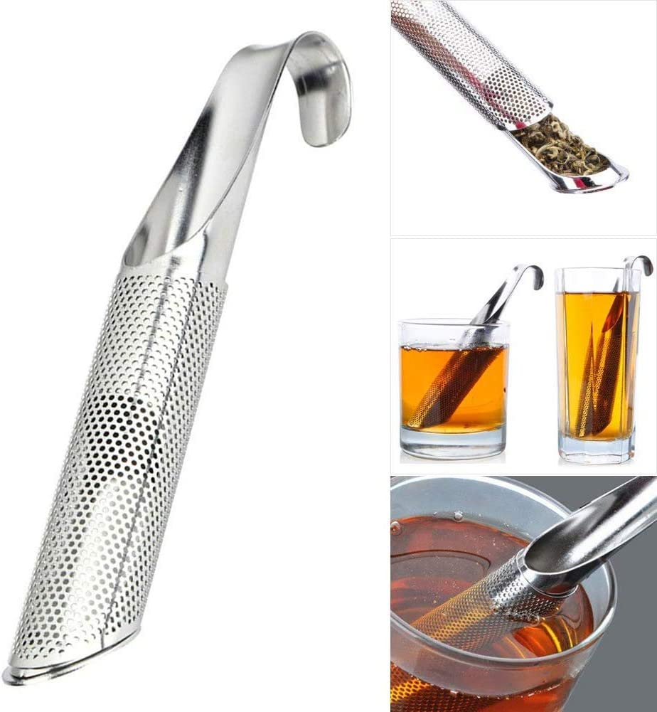 Stainless Steel Stick Pipe Tea Steeper Strainer for Loose Tea Leaf Mugs Herbs or Spice Luyao Tea Infuser Premium Extra Fine Mesh Tea Maker for Single Cup Brewer 1 Pc//Pack