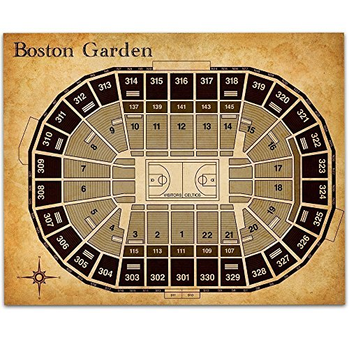 - Boston Garden Basketball Seating Chart Art Print - 11x14 Unframed Art Print - Great Sports Bar Decor and Gift for Celtics Fans