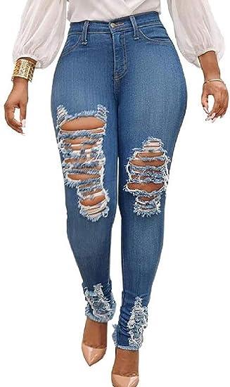WAWAYA 女性高ウエストストレッチカジュアルホールリッピングユーズドデニムジーンズパンツ