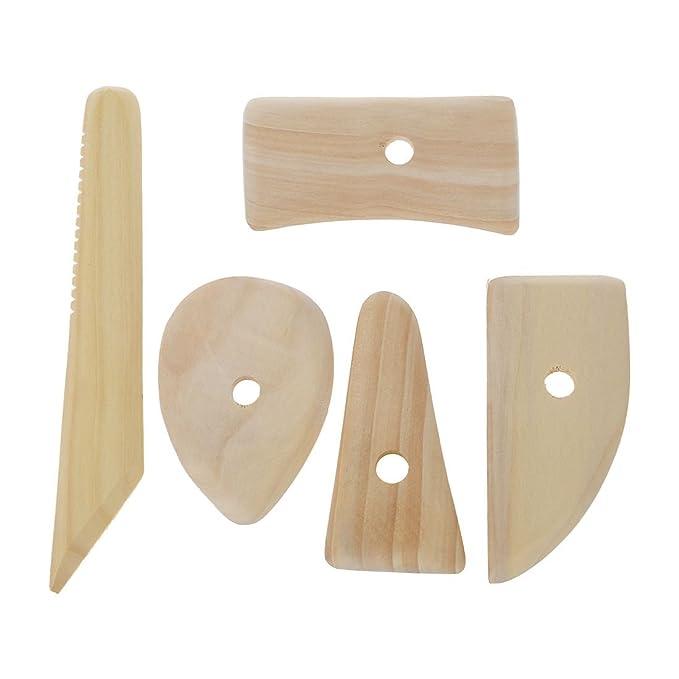 Vktech 5 Pcs Wood Pottery Clay Sculpture Ceramics Molding Tool Potters Rib