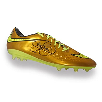 Neymar Jr Signed Nike Hypervenom Gold Soccer Shoe at Amazons Sports Collectibles Store