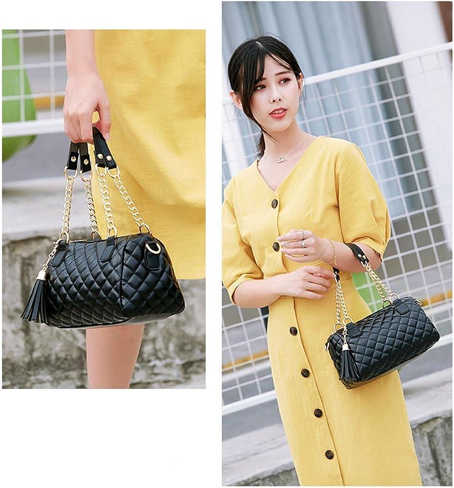LLMLCF Womens Fashion PU Leather Cross Body Bag or Shoulder Bag Handbag,Gold Chain Quilted Shoulder Bag