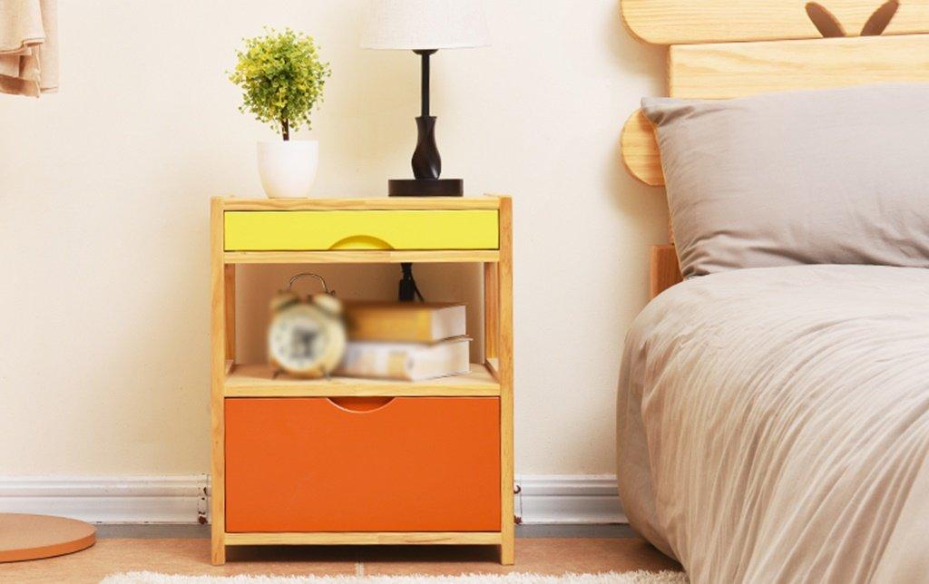 LI JING SHOP - Meubles en bois massif Tables de chevet Chambre de simplicité européenne Armoire de rangement ( Couleur