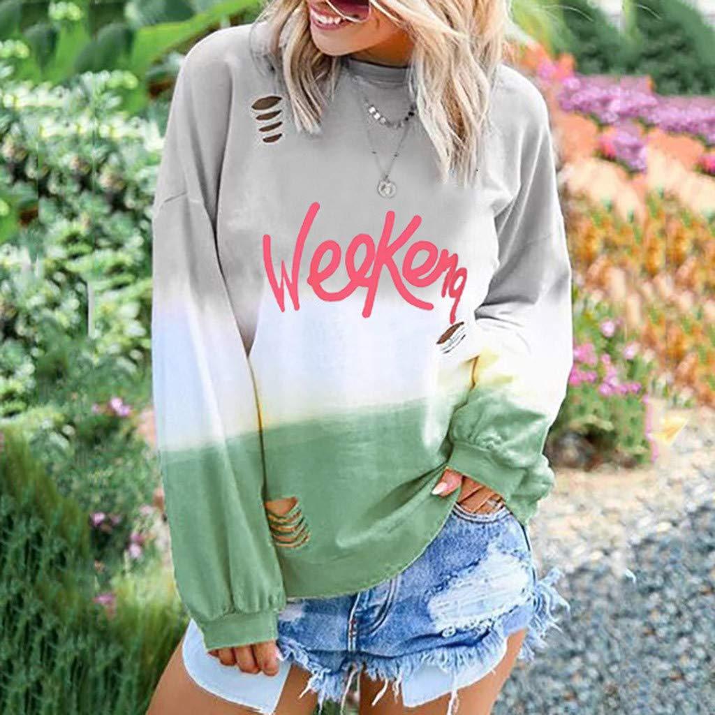 KaloryWee Womens Letter Print Sweatshirt Long Sleeve Designer Loose Baggy Crew Neck Pullover Jumper Shirt
