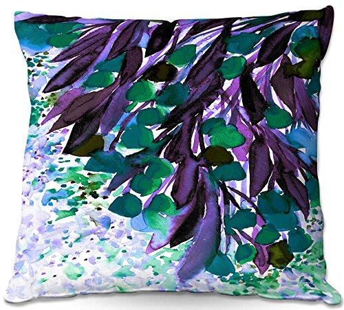 DiaNoche Designs Artist Julia Di Sano-Botanical Regency IV Teal Purple Decorative Woven Couch Throw Pillow, 16